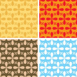 Bloat repeat multi. Illustrated seventies style wallpaper with a seamless repeat design with four colour variations Stock Images