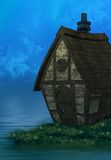 The Bloated House. A bloated cartoon like house in a magical setting on the water Stock Photography