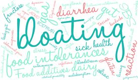 Bloating Word Cloud. On a white background stock illustration