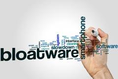 Bloatware-Wortwolke auf grauem Hintergrund Lizenzfreies Stockfoto