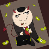 Blob corrupted politic. Cartoon style devil in suit with suitcase full of money Royalty Free Stock Photo