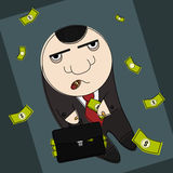 Blob corrupted politic. Corrupt politician in funny cartoon style illustration Royalty Free Stock Photos