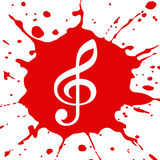 Blob in red. Red blotch with the image of a treble clef Stock Photos