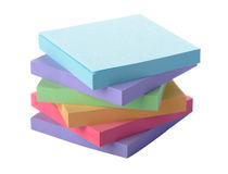 Bloc coloré par pile de notes de post-it Images libres de droits