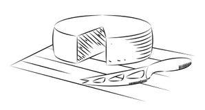 Bloc de fromage et de couteau sur un fond blanc, Photo stock