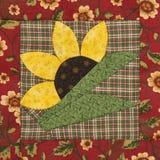 Bloc de patchwork le tournesol dans le style rustique Images stock