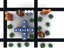 Bloc de ville avec des routes de bâtiments images libres de droits