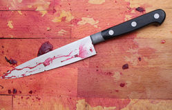 Bloc et couteau de bouchers Photos stock