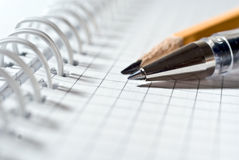Bloc notes. Agenda for notes with two pencils Royalty Free Stock Image