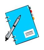 Bloc-notes avec l'autocollant de bande dessinée de stylo dans le rétro style Photos libres de droits