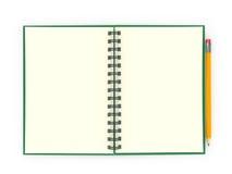 Bloc-notes avec le crayon Images stock