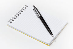Bloc-notes avec le crayon lecteur noir Photos libres de droits
