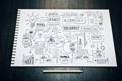 Bloc-notes avec le croquis d'affaires illustration libre de droits
