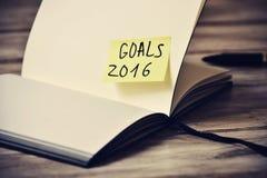 Bloc-notes avec les buts des textes 2016, filtrés Image libre de droits