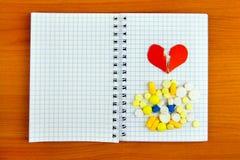 Bloc-notes avec pilules image libre de droits