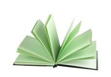 Bloc-notes blanc avec les pages rayées ouvertes d'isolement Images stock