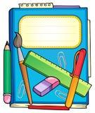 Bloc-notes d'école avec la papeterie Images stock