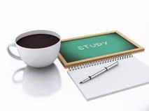 bloc-notes 3d et tasse de café concept d'étude sur le fond blanc Image libre de droits