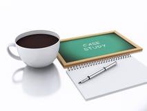 bloc-notes 3d et tasse de café concept d'étude sur le fond blanc Photos stock