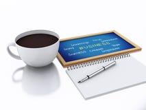 bloc-notes 3d et tasse de café concept de lieu de travail sur le backgro blanc Photos libres de droits
