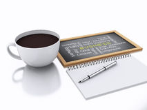 bloc-notes 3d et tasse de café concept de lieu de travail sur le backgro blanc Image libre de droits