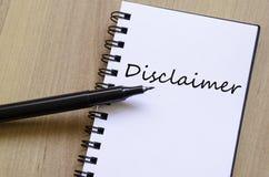 Bloc-notes de concept de clause de non-responsabilité Photos stock