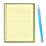 Bloc-notes de vecteur avec le crayon Image stock