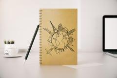 Bloc-notes en spirale avec le croquis de voyage illustration libre de droits
