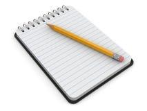 Bloc-notes et crayon (chemin de coupure inclus) Images stock