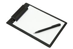 Bloc-notes et crayon lecteur noir Images libres de droits