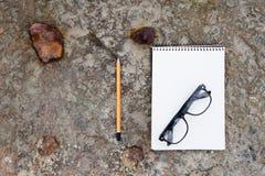 bloc-notes, verres et crayon sur le plancher Photo stock