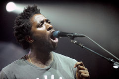 Bloc Party. Singer Kele Okereke of British indie-rock band Bloc Party during performance at festival Rock for People in Hradec Kralove, Czech republic, July 2 Royalty Free Stock Photography