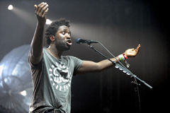 Bloc Party. Singer Kele Okereke of British indie-rock band Bloc Party during performance at festival Rock for People in Hradec Kralove, Czech republic, July 2 Royalty Free Stock Photos