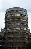 Bloc Tehnoimport: 1930s Modernist Architecture Bucharest Romania. Built in 1935, the Tehnoimport Building is an important example of the cylindrical form in stock images