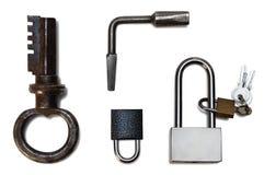 blocage et clé d'isolement sur le fond blanc Photo stock