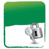 Blocage et clé sur le fond vert Photographie stock libre de droits
