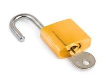 Blocage ouvert et clé Photo stock