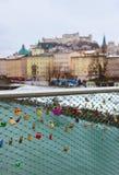 Blocages d'amour à Salzbourg Autriche Images libres de droits