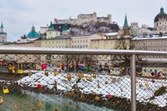 Blocages d'amour à Salzbourg Autriche Image libre de droits