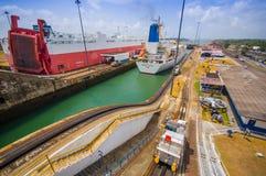 Blocages de Gatun, canal de Panama C'est le premier ensemble Photo libre de droits