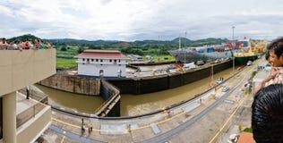 Blocages de MiraFlores de canal de Panama Images libres de droits