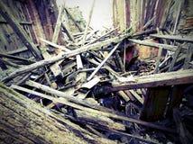 Blocaille et les ruines de la maison détruite par earthqu puissant Photos libres de droits