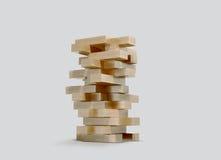 Blocca il jenga di legno del gioco su fondo grigio Fotografia Stock Libera da Diritti