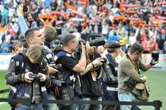 Bloccaggio dei reporter che cosa sta accadendo Immagini Stock