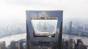 Bloccaggio dell'orizzonte di Shanghai Centro finanziario del mondo di Shanghai, torre della perla, fiume di Hungpu e Bund fotografie stock