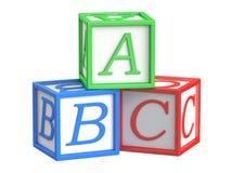 Blocchetti del giocattolo, cubi di ABC Fotografia Stock