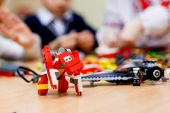 Blocchetti della costruzione o giocattolo di plastica colorati del mattone Immagini Stock Libere da Diritti