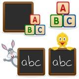 Blocchetti di ABC della lavagna del banco Fotografia Stock