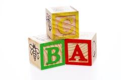 Blocchetti di ABC su bianco Fotografia Stock