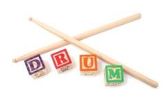 Blocchetti di alfabeto e bastone del tamburo Fotografia Stock Libera da Diritti
